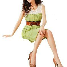 Allegra K Ladies Scoop Neck Elastic Waist Lining Tank Pure Semi Sheer Dress