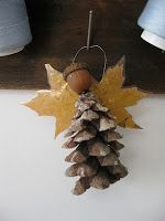 pinecone acorn and two maple leafs (laminated) hot glue gun