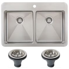 This double bowl overmount stainless steel kitchen sink from Ticor features a nine-inch bowl depth and a stylish brushed finish. This sink is padded to reduce the noise from dish disposal and running water.