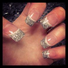 Wedding nails. Silver glitter tips, purple line.