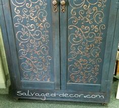 Salvaged Decor - Miss Mustard Seed Artissimo and Paint Couture embossing medium with copper charmeuse