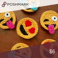 Set of 3 Crochet Emoji Magnets by StringTheoryC on Etsy - Funny and crazy crocheted smilies.Discover thousands of images about Emoji magnets - fun!Super cute and a little bonkers, these tiny and detailed little chaps will brighten your fridge, magnet Appliques Au Crochet, Crochet Motif, Crochet Flowers, Crochet Patterns, Ravelry Crochet, Crochet Gifts, Cute Crochet, Crochet For Kids, Fast Crochet