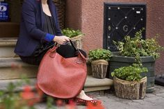leather shoulder bag made by  ladybuq  brown  red
