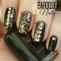 Original Nail Designs - & Stamping Nail Art - Designer Press On Nails Lace Nail Design, Lace Nail Art, Elegant Nail Designs, Lace Nails, Nail Stamping Designs, Stamping Nail Art, Nail Art Designs, Joy Nails, Black Gold Nails