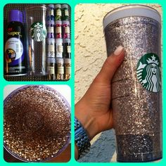 This is going on my ASAP list!! These are double cups that screw apart and you use either Modge Podge or spray adhesive to the inside of the *outer* cup where your liquids *don't* go, add glitter (chunkier craft types are best) and shake. So simple!