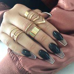 Bold Black Coffin Nail Design