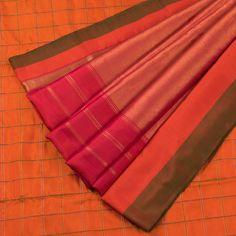 Venkie Reddy Outrageous Orange Handwoven Gadwal Silk Saree with Checks & Zari Border 10002135 - AVISHYA.COM