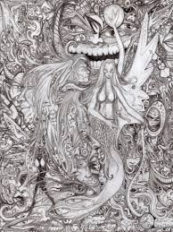 """traditional pencil drawing """" hopes you enjoy. Medium: basic printer paper and pencil, and about 9 hours of letting my imagination float down the. My insane pencil Pencil Art, Pencil Drawings, Adult Coloring, Coloring Books, Really Cool Drawings, Ink Art, Art Google, Trippy, Illustrators"""