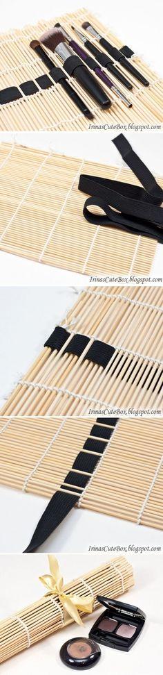 DIY trousse à crayons, pinceaux, ... Avec natte en bambou et élastique
