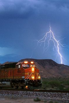 BNSF In A Storm Pictures Of Lightning, Lightning Photography, Bnsf Railway, Train System, Rolling Thunder, High Iron, Natural World, Locomotive, Railroad Tracks