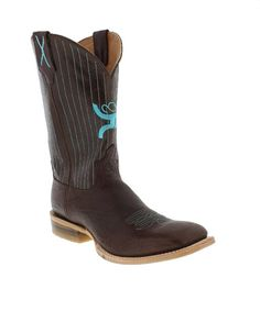 """HOOey Men's 12"""" Chocolate Pinstriped Square Toe Boots by Twisted X"""