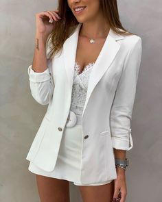 Blazer Liliana Alfaiataria Boyfriend Martingale Cores Off, Preto e Rose - Sibelle Alves de Assis Cute Casual Outfits, Girly Outfits, White Outfits, Pretty Outfits, Summer Outfits, Blazer Outfits, Blazer Fashion, Fashion Outfits, Look Fashion