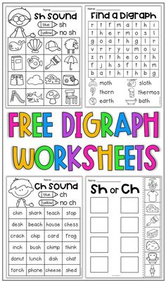 Free digraph worksheets for sh, th and ch. Teaching Phonics, Phonics Activities, Kindergarten Worksheets, Teaching Reading, Differentiated Kindergarten, Kindergarten Reading Activities, First Grade Activities, Homeschool Kindergarten, Guided Reading