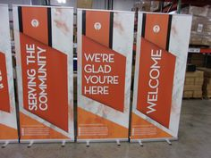 City Light Church made these awesome banners to welcome people to their church each Sunday. Portable Display, Banner Stands, Church Banners, Artwork Design, Hospitality, Event Planning, Ministry, Signage, Budgeting