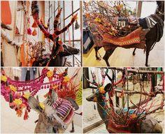 yarn decorated ceramic deer figures | fall 2011 store windows and displays in free people stores using, wood, fiber, yarn, etc