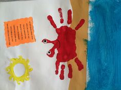 Crab handprint and poem. Used it for a Hawaiian luau theme and underwater ocean theme! Parents loved it!