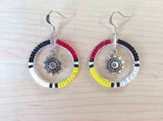 Beaded Hoop Earrings w/ Sun / Star, Native American Style Beadwork, Tribal Color