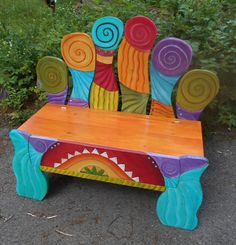"Childrens Bench - 33"" H X 17"" D X 34"" Long - Painted Bench - Mud Room Bench…"