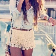 i love the denim top and lace shorts