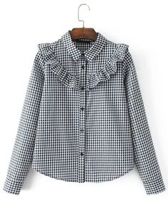 SheIn offers Ruffle Detail Gingham Blouse & more to fit your fashionable needs. Kurta Designs, Blouse Designs, Muslim Fashion, Hijab Fashion, Fashion Dresses, Hijab Stile, Vetement Fashion, Mode Inspiration, Western Wear