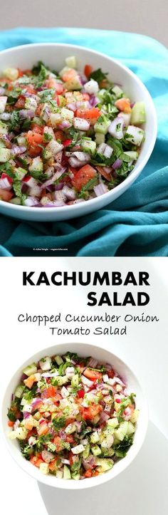 Kachumber Salad - Cucumber Tomato Onion Salad Recipe. Kachumbar is a simple Chopped Summer Salad with chopped onions, tomatoes, cucumbers and a salt pepper lemon dressing. Serve as a side with Indian curries, or as a dip with chips, or over burgers. Vegan Gluten-free Soy-free Oil-free Recipe | http://VeganRicha.com