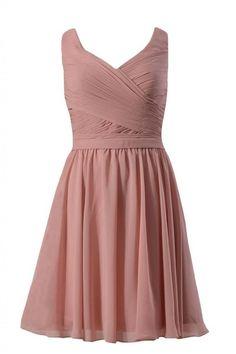 DaisyFormals Short Deep V-Neckline Bridesmaid Dress Party Gown w/Straps(BM5196S)- Dusty Rose