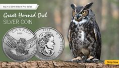 Silver Coin: 1 oz 2015 Birds of Prey Series, Great Horned Owl Silver Coin.