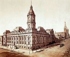 Melbourne Town Hall prior to the addition of the porte-cochère, corner of Swanston Street and Collins Street, Melbourne