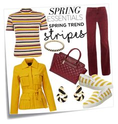 """Striped Shirt"" by hastypudding ❤ liked on Polyvore featuring Post-It, River Island, Current/Elliott, Michael Kors, Office, TY-LR, David Webb, Lauren G Adams, stripes and fashionset"