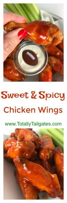 Sweet & Spicy Chicken Wings are always a family crowd pleaser on game days! These are the perfect combination of heat and sweetness with that classic chicken wing flavor. Sweet And Spicy Chicken, Chicken Wings Spicy, Pre Cooked Chicken, How To Cook Chicken, Chicken Wing Flavors, Chicken Wing Recipes, Easy Dinner Recipes, Appetizer Recipes, Easy Meals