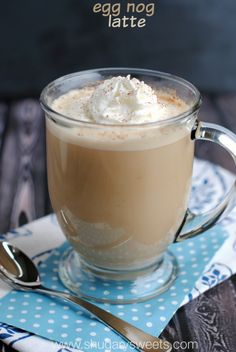 Egg Nog Latte: a delicious, hot and creamy homemade version! No espresso machine needed!!