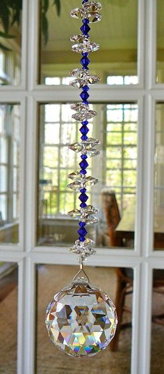 Rainbow Maker, Swarovski Crystal Sun Catcher w/ Crystal Ball, Blue Crystal Beads and Crystal Octagons, Comes in 12 Colors Swarovski Crystal Beads, Crystal Ball, Wire Crafts, Diy And Crafts, Feng Shui, Sun Catchers, Hanging Crystals, Beaded Ornaments, Glass Garden