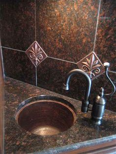 A Very Nice Mini Bar Design With Our Small Bar Sink To Fit This Compact  Space. Http://www.coppersinksonline.com/soluna Small Round Hammered Copper U2026