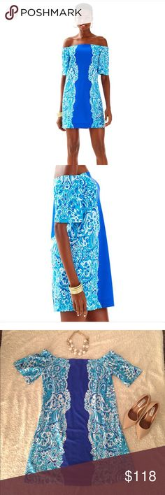 Lilly Pulitzer NWT Tianna Off Shoulder Dress. XL. This Lilly Pulitzer Tianna Dress in Brilliant Blue Moon Jellies Engineered is stunning! The colors are so vibrant and it is so flattering! NWT ($168) and size XL. Lilly Pulitzer Dresses Strapless