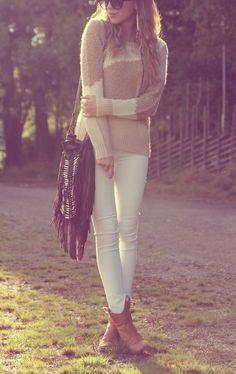 White skinny jeans.