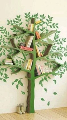 Ikea Kids, Ikea Children, Tree Bookshelf, Tree Shelf, Bookshelf Design, Tree Book Shelves, Bookshelf Ideas, Creative Bookshelves, Corner Shelves