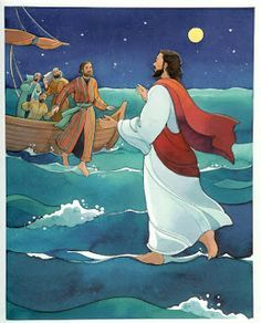 Drawing image of Jesus Christ walking on the sea water towards Peter download free religious pictures