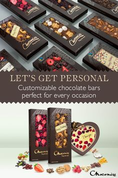 Chocomize lets you make a perfectly personal chocolate bar for any occasion. Choose your favorite Belgian chocolate base and up to five toppings from over 90 options. Then, your customized chocolate bar ships right to your doorstep. Head over to our creation station now to make your own.