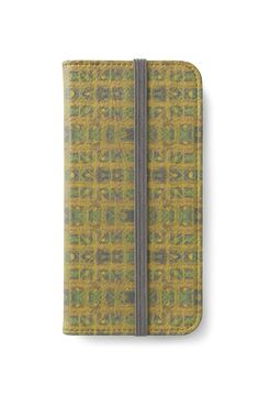 """Abstract pattern in ethnic style, golden yellow & green "" iPhone Wallets by clipsocallipso 