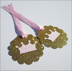 Pink & Gold Princess Crown Favor Tags