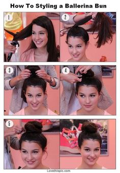DIY Ballerina Bun hair hair color diy hair cut hairstyle bun diy ideas diy crafts do it yourself easy diy hair bun diy tips ballerina bun