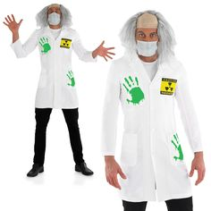 Mens LIGHT-UP Mad Scientist Lab Coat Fancy Dress Halloween Costume