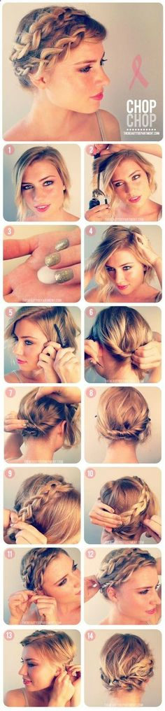 Boho chic hairstyle for shorter hair, this would be great for music festivals.