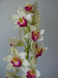 Cymbidium Orchidee 100cm cream künstliche Pflanze Kunstblume