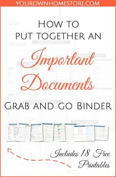 How to create a complete emergency important documents grab and go binder. How to create a complete emergency important documents grab and go binder (in 9 simple steps). Includes 18 free pages you can print for your binder. Newly Updated with an opportun Emergency Preparedness Kit, Emergency Preparation, Emergency Supplies, Emergency Planning, Emergency Packs, Survival Supplies, Organizing Paperwork, Paper Organization, Organizing Life