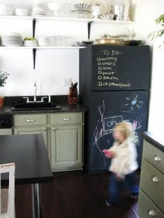 chalkboard refrigerator - what a great idea to do with our nasty old one we have that no matter how I try to clean it, it still just looks grungy.