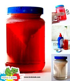 Tornado in a jar.  Food coloring, glue, and water