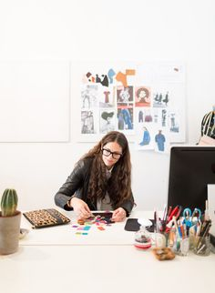 Sydney based designer Brenda Briand of accessories label Benah, in her Surry Hills studio.  Photo – Phu Tang.