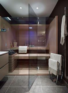 badezimmer sauna planen glaswand tür großformatige graue bodenfliesen