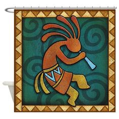 Best Seller Kokopelli Shower Curtain by Royal-Savage - CafePress Stained Glass Patterns Free, Stained Glass Designs, Native American Artwork, Native American Design, Ceramic Painting, Stone Painting, Rock Painting, Hand Painted Rocks, Painted Tiles